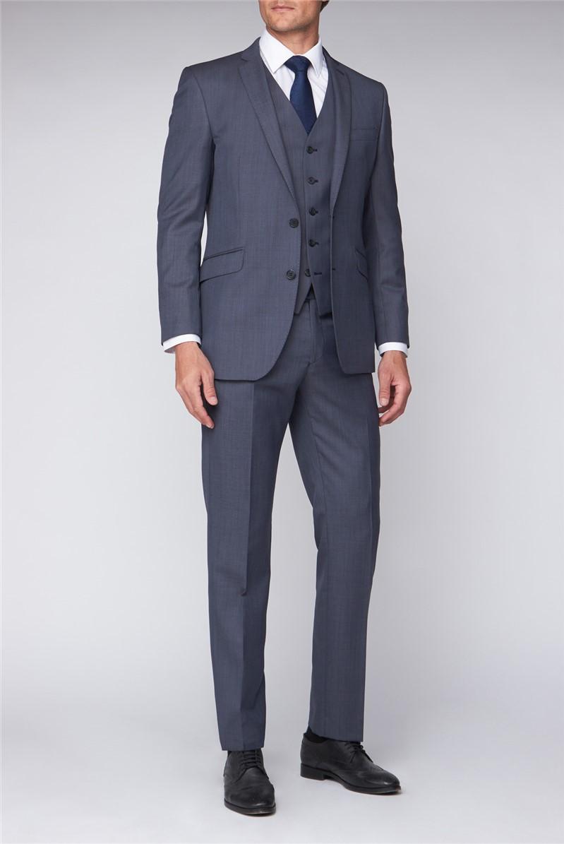 Blue Sharkskin Contemporary Fit Suit Jacket