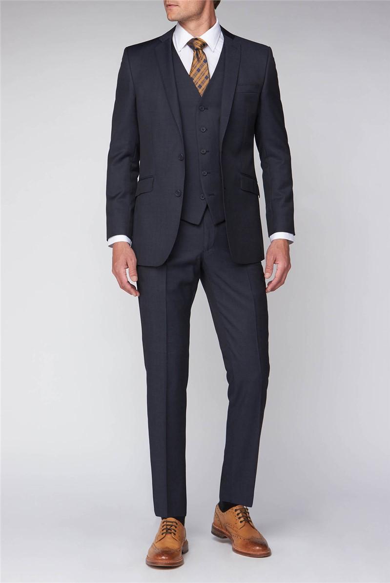 Blue Black  Pindot Contemporary Fit Suit