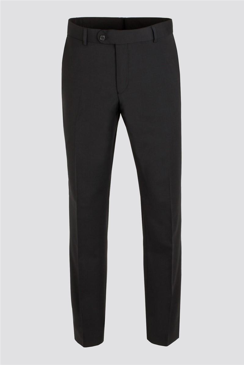 Black Plain Front Trousers