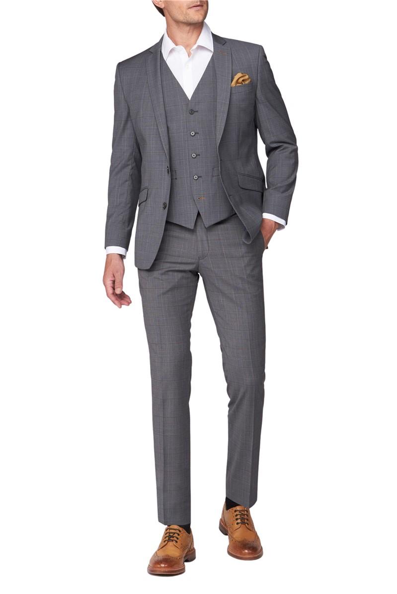 Premier Light Grey Tan check Trousers