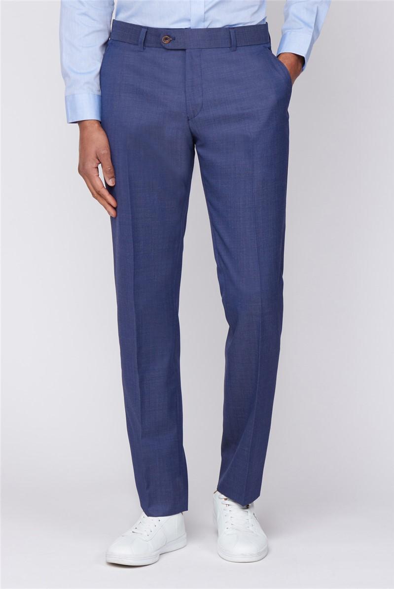 Navy Plain Pindot Regular Trousers