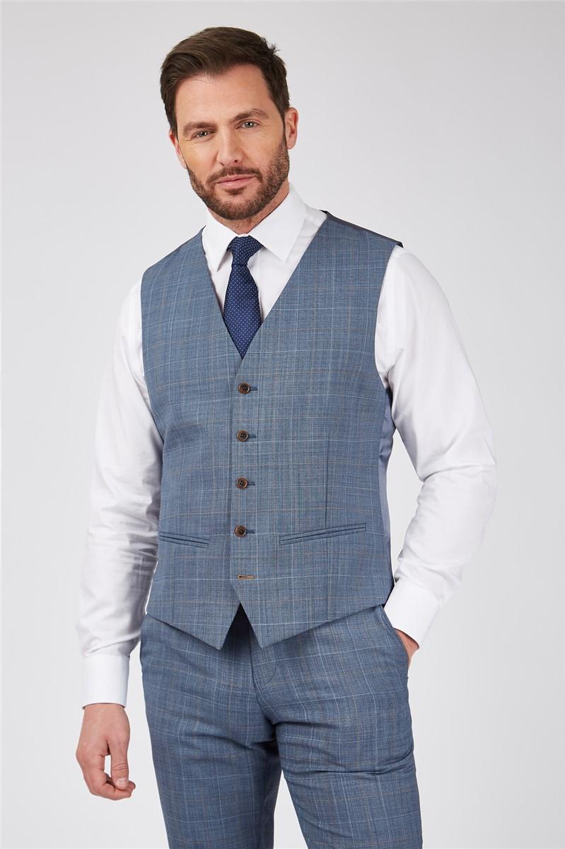 Light Blue Sharkskin with Tan Overcheck Suit