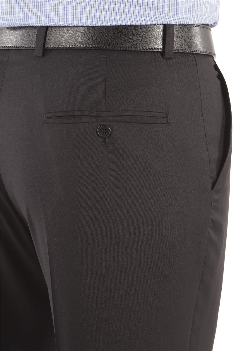 Black Twill Regular Fit Suit Trousers