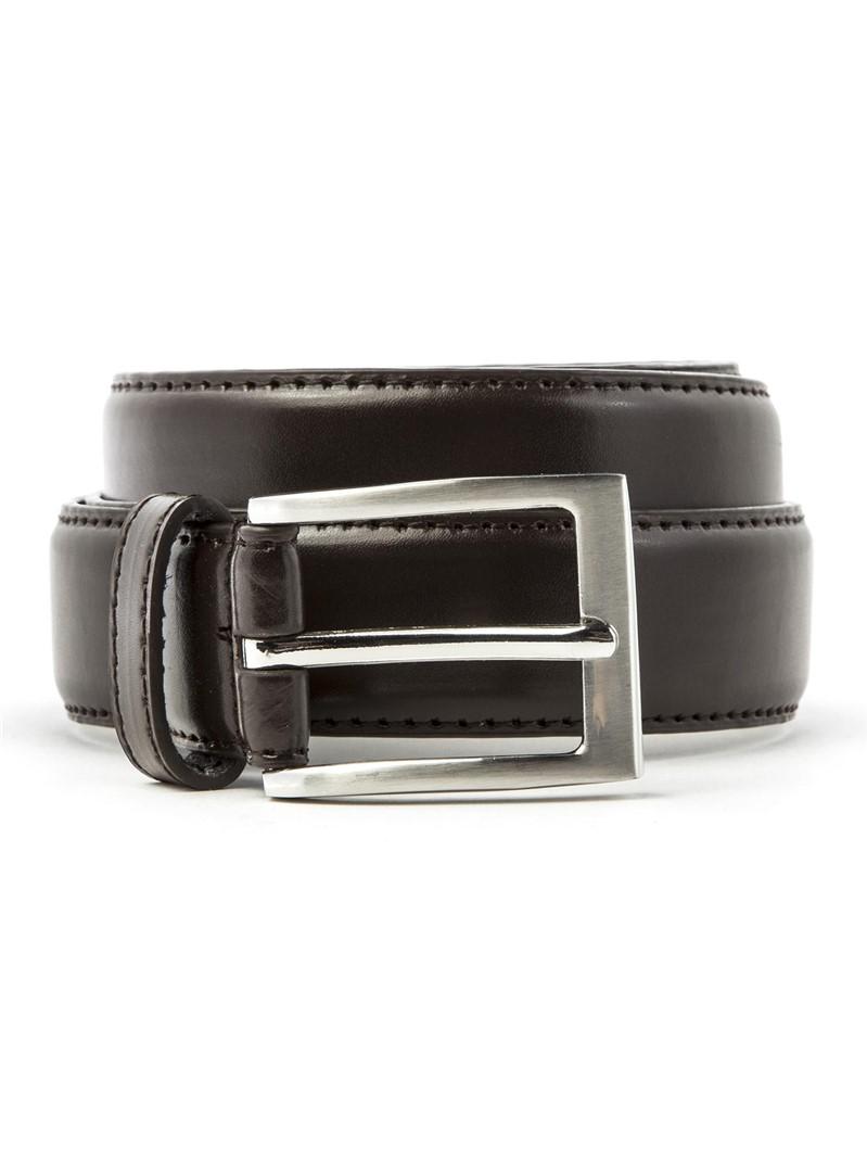 Brown Belt With Topstitch Detail