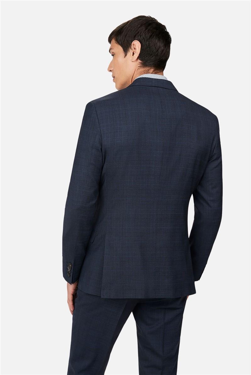 Navy Tonal Check Slim Suit
