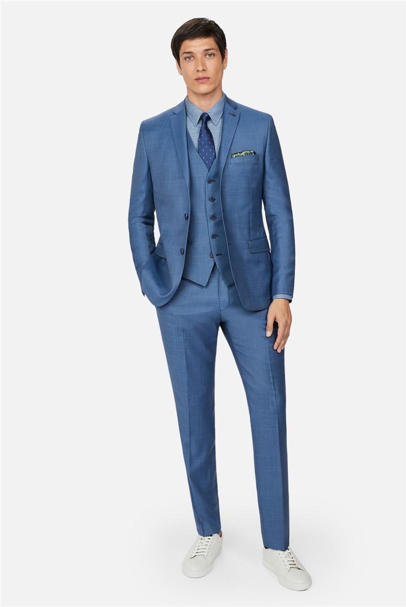 Light Blue Pick and Pick Slim Suit