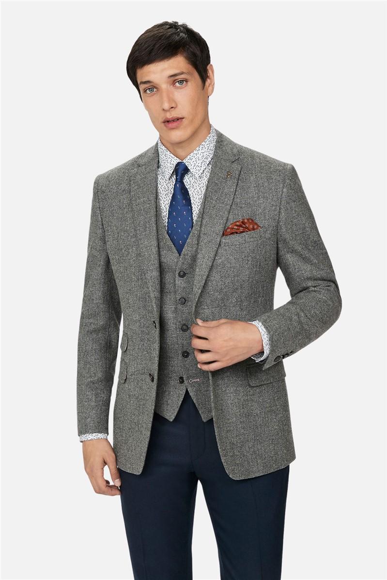 Grey Melange Woollen Regular Waistcoat