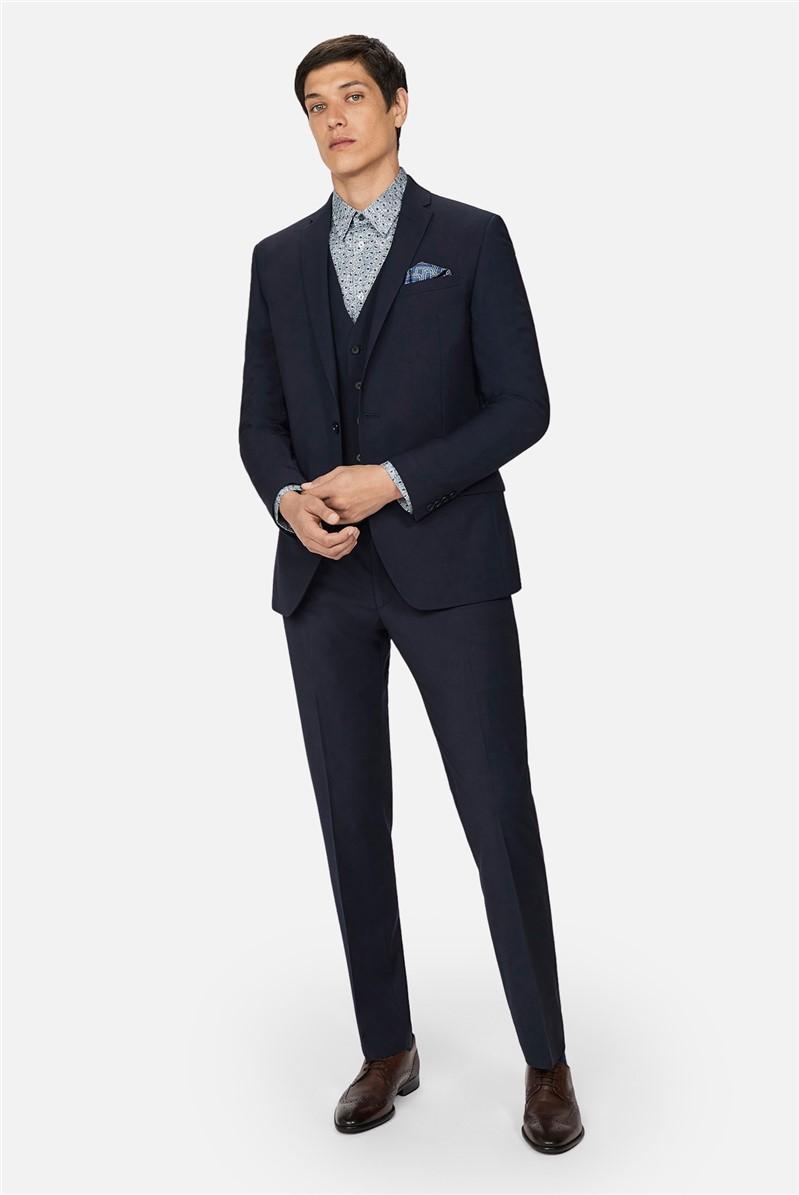 Navy Panama Skinny Suit Trousers