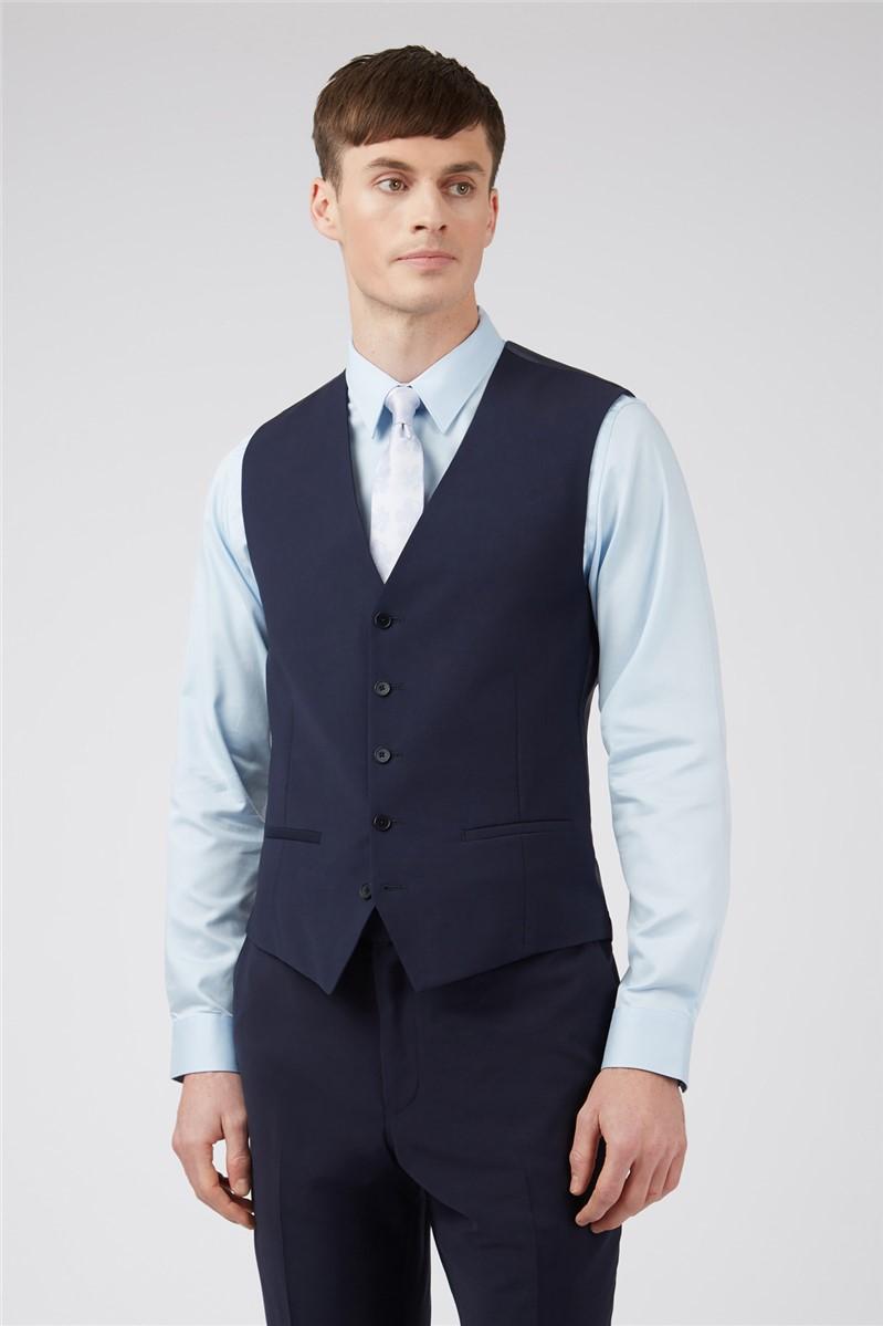 Navy Panama Slim Waistcoat