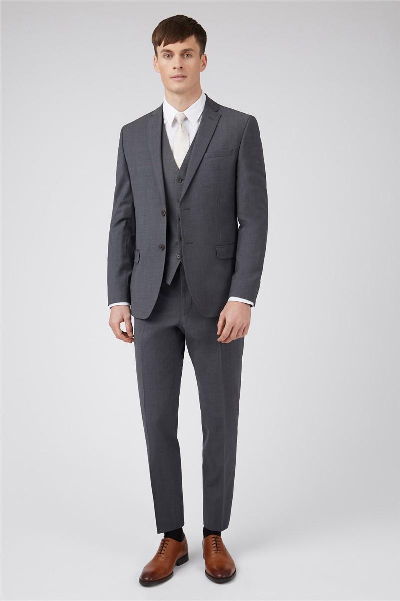 Charcoal Panama Regular Suit Trousers