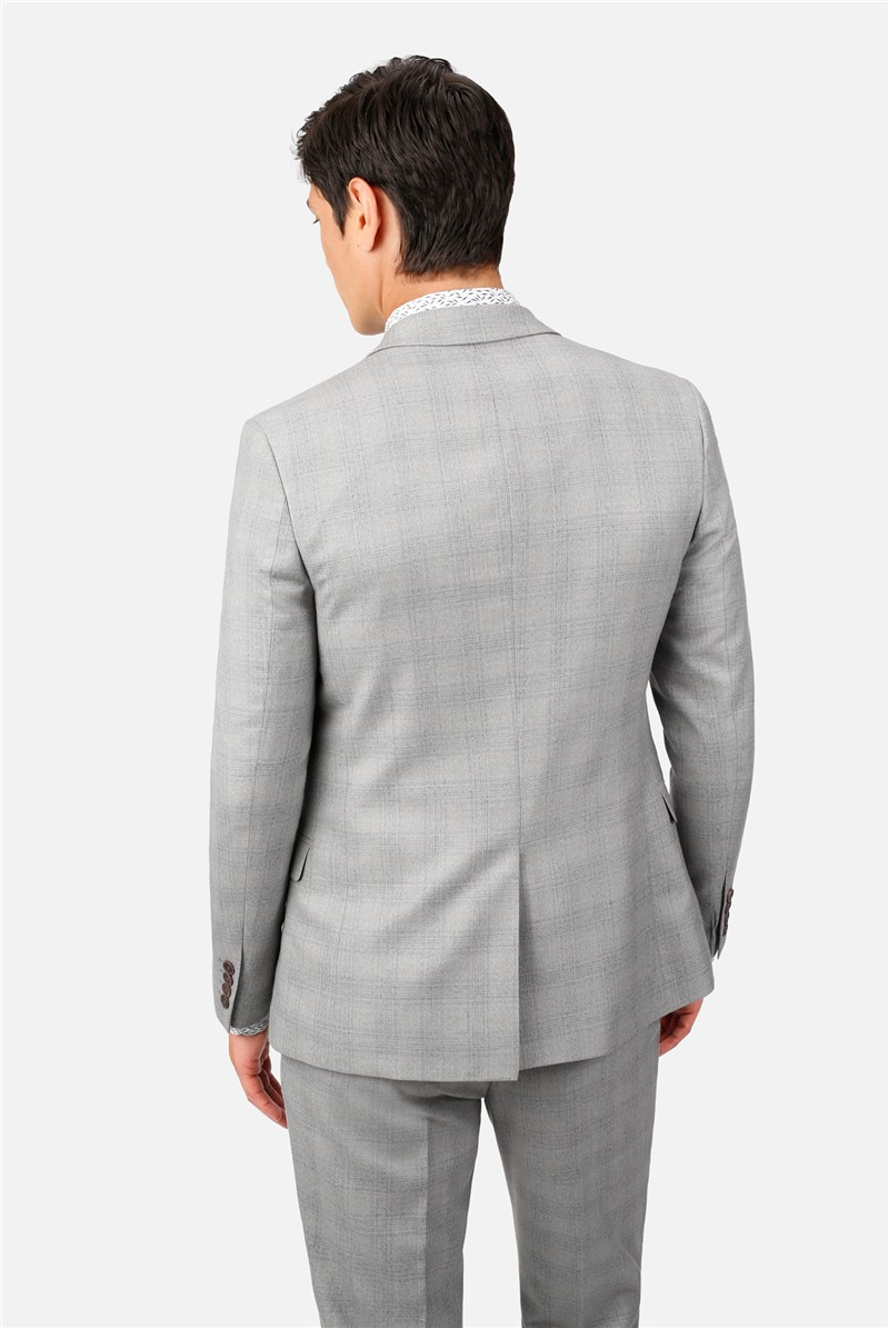 Light Grey Blue Check Slim Fit Waistcoat