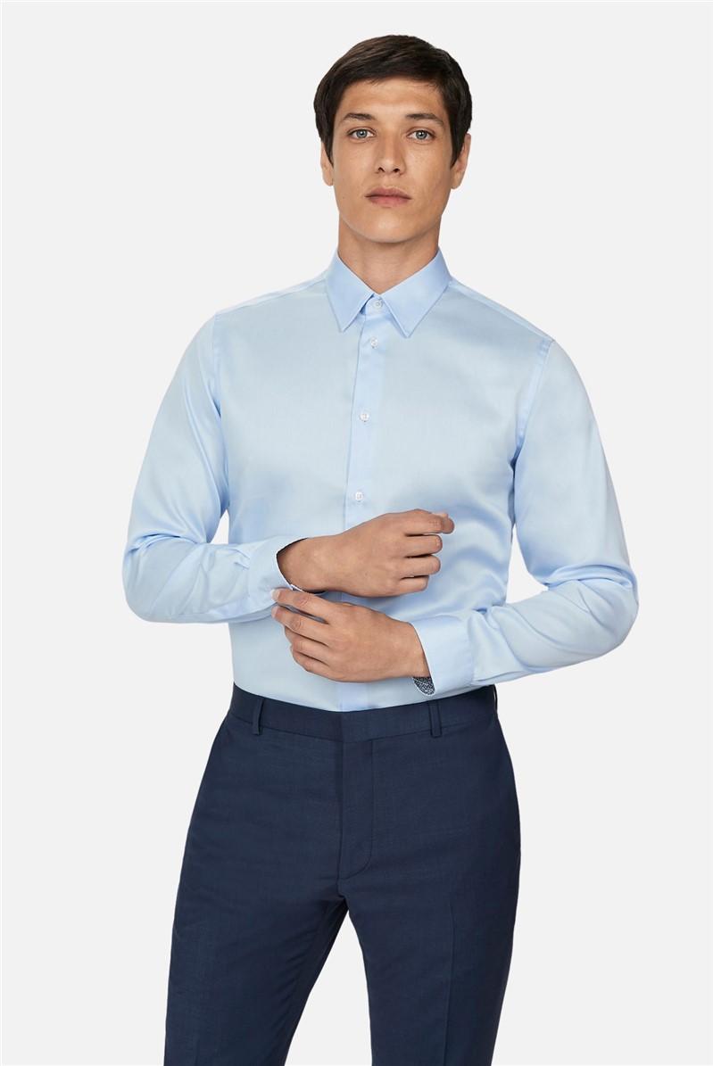 Light Blue Sateen Slim Fit Shirt