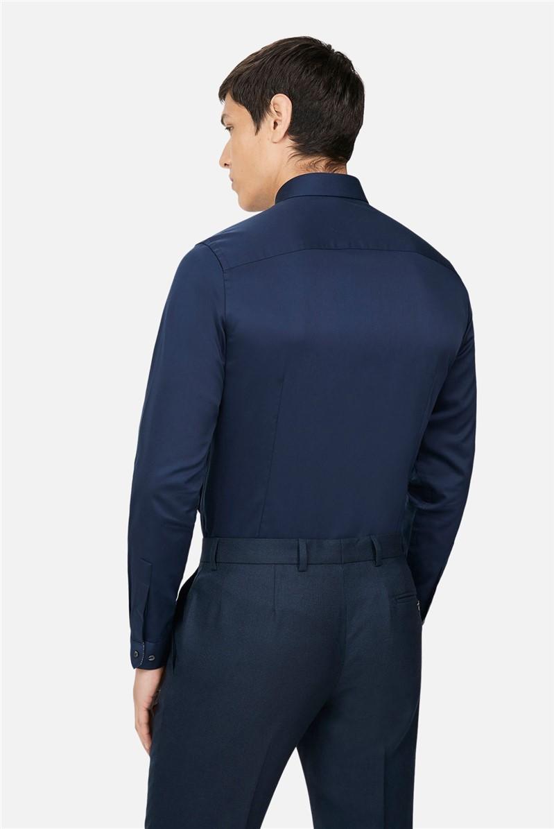 Navy Sateen Slim Fit Shirt