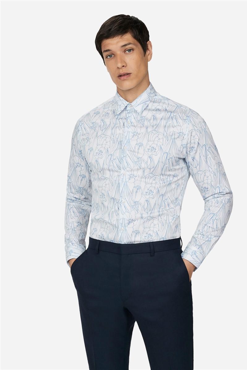 Blue Floral Skinny Fit Shirt