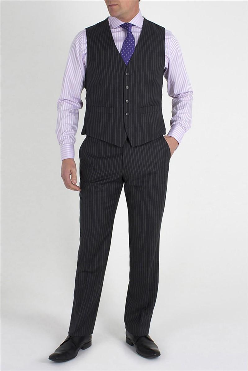 Charcoal Stripe Mens Waistcoat