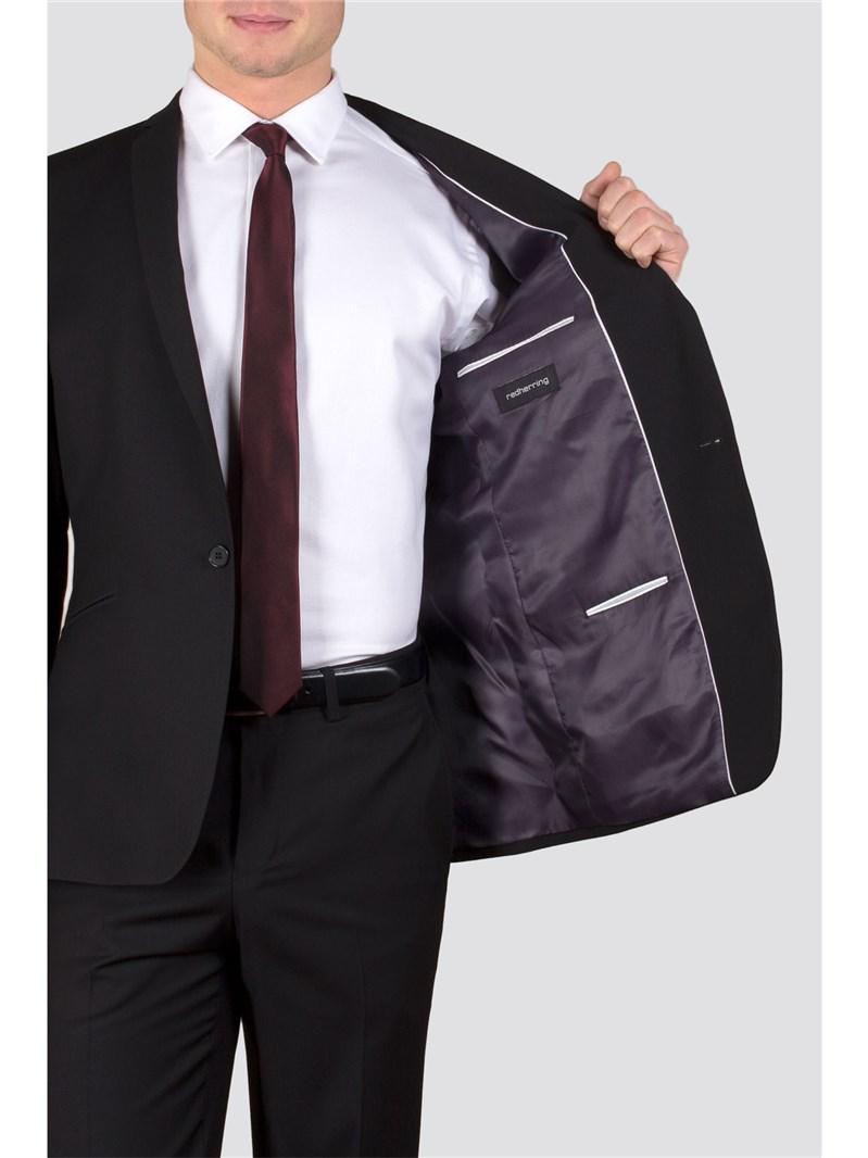 Black Twill Slim Fit Suit Trouser
