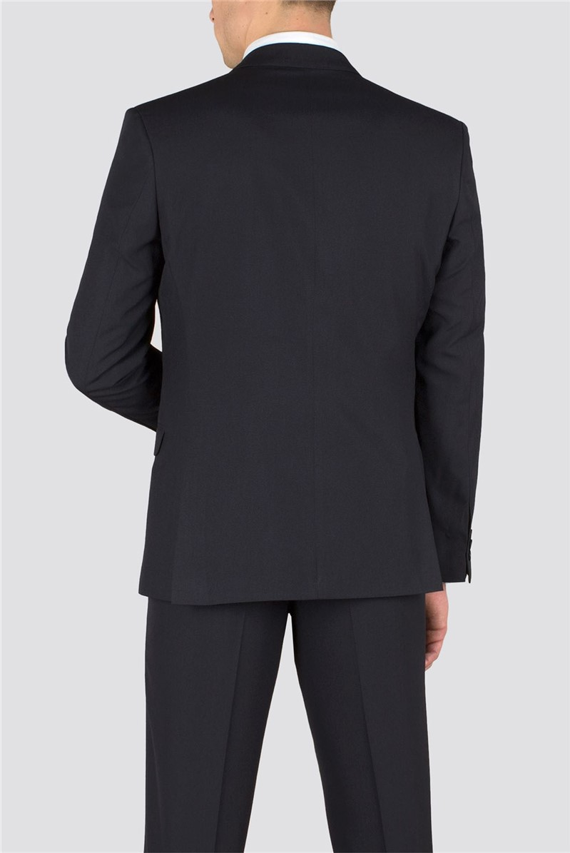 Navy Plain Weave Slim Fit Suit Jacket