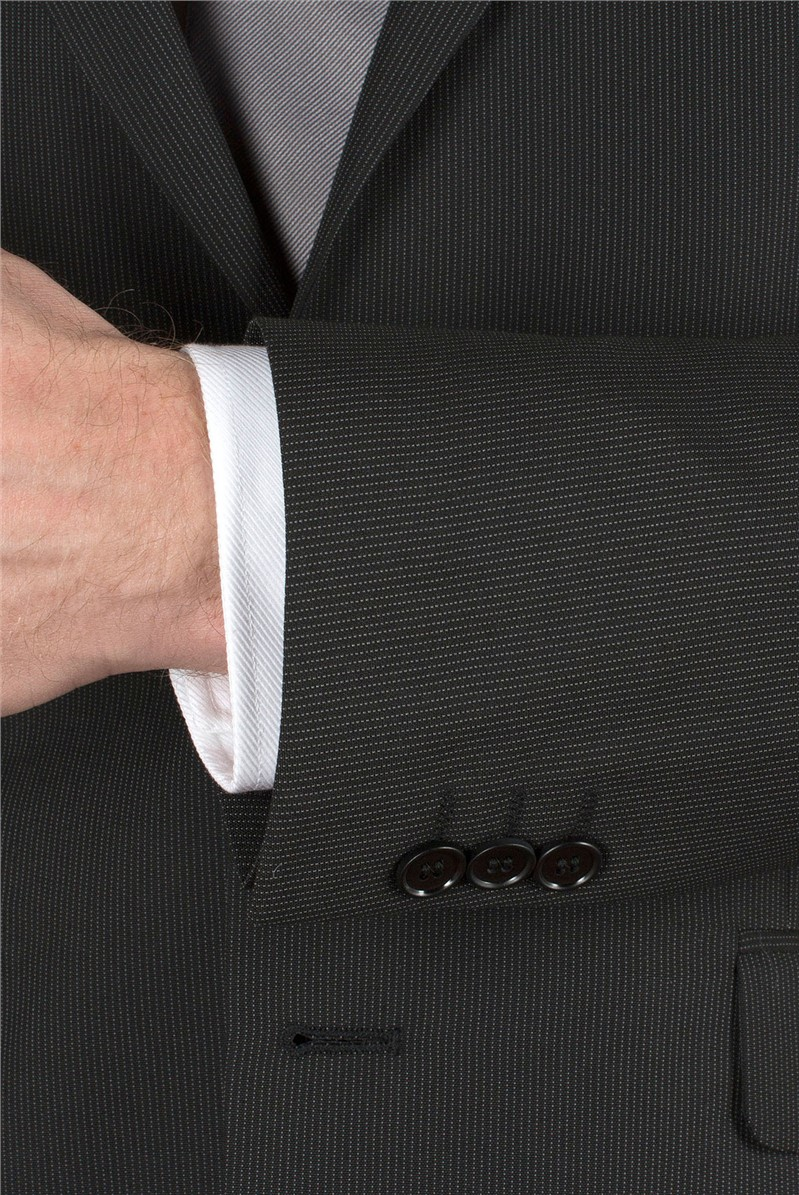 Black Striped Tailored Fit Suit Jacket