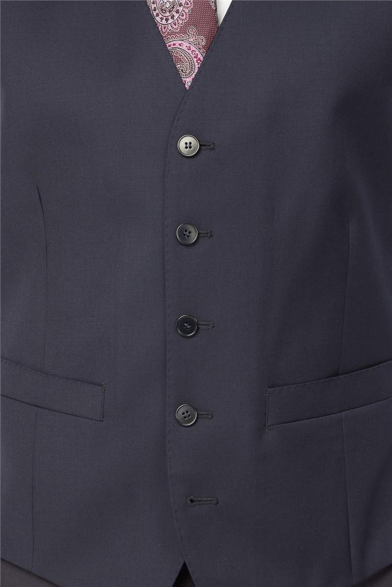 Plain Navy Wool Waistcoat