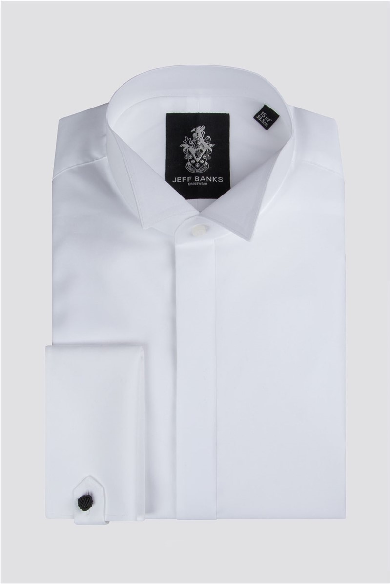 Jeff Banks White Fly Front Wing Collar Regular Fit Shirt