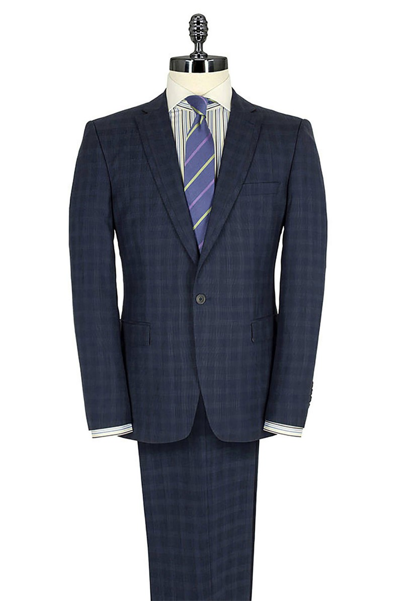 Blue Check Modern Fit Suit