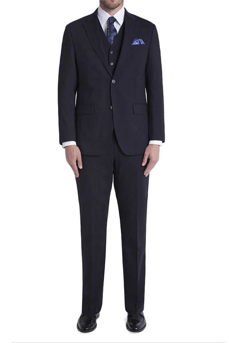 Navy Travel 6 Button Regular Fit Suit Waistcoat
