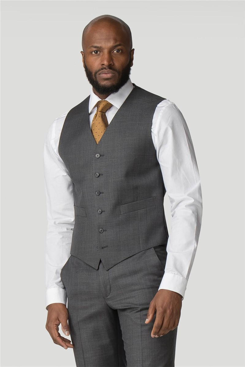 Grey Pick and Pick Plain Front Regular Fit Waistcoat