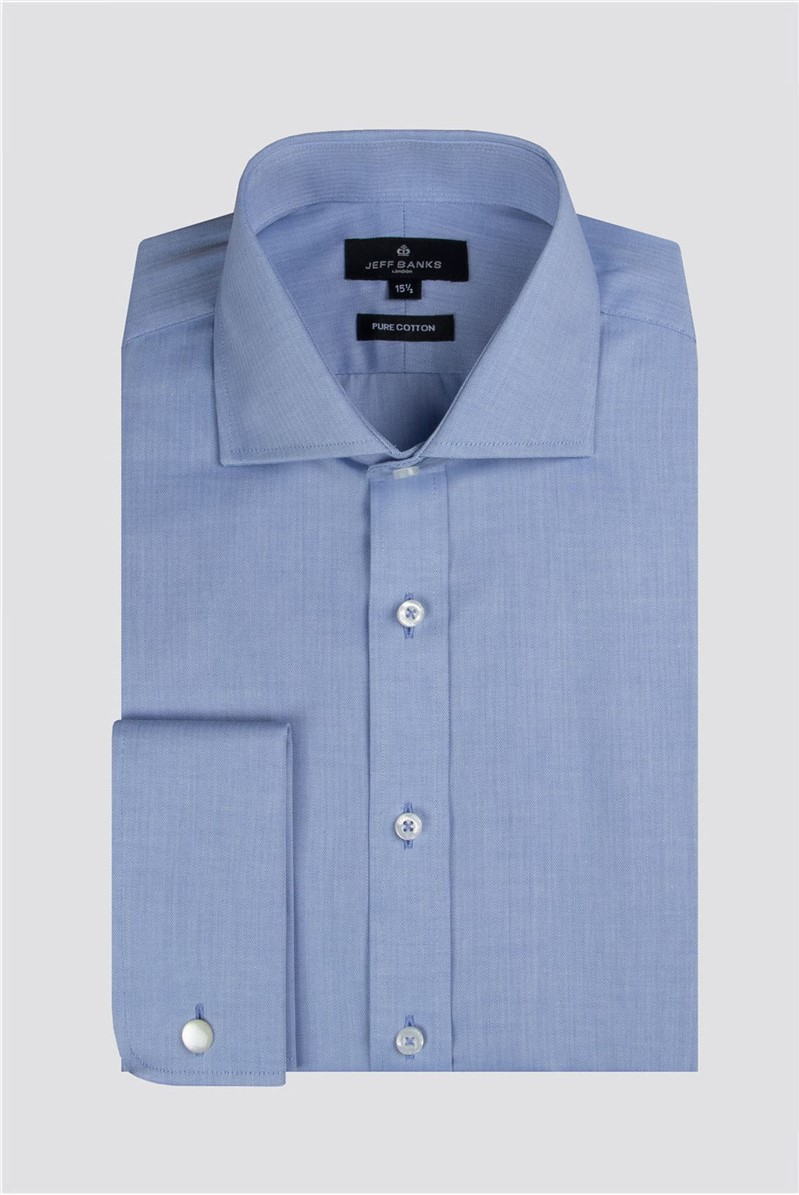 Blue Herringbone Regular Fit Shirt
