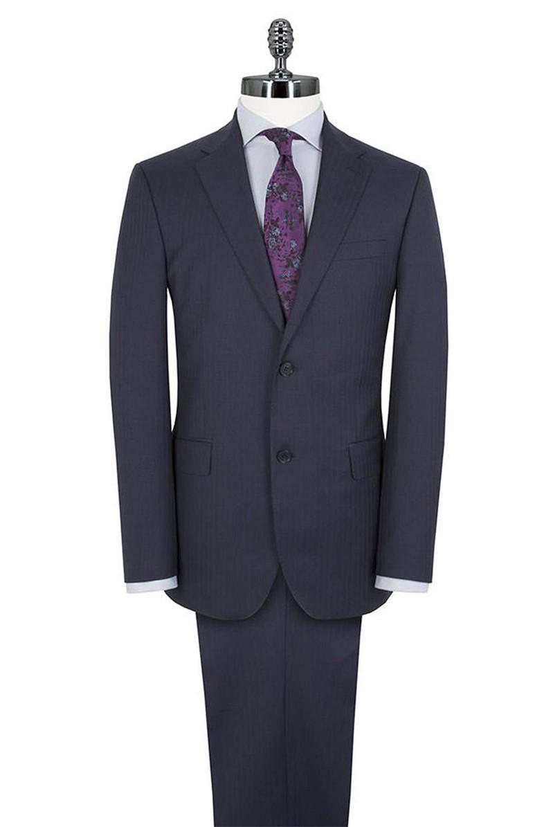Navy Herringbone Regular fit Luxury Tailoring Suit