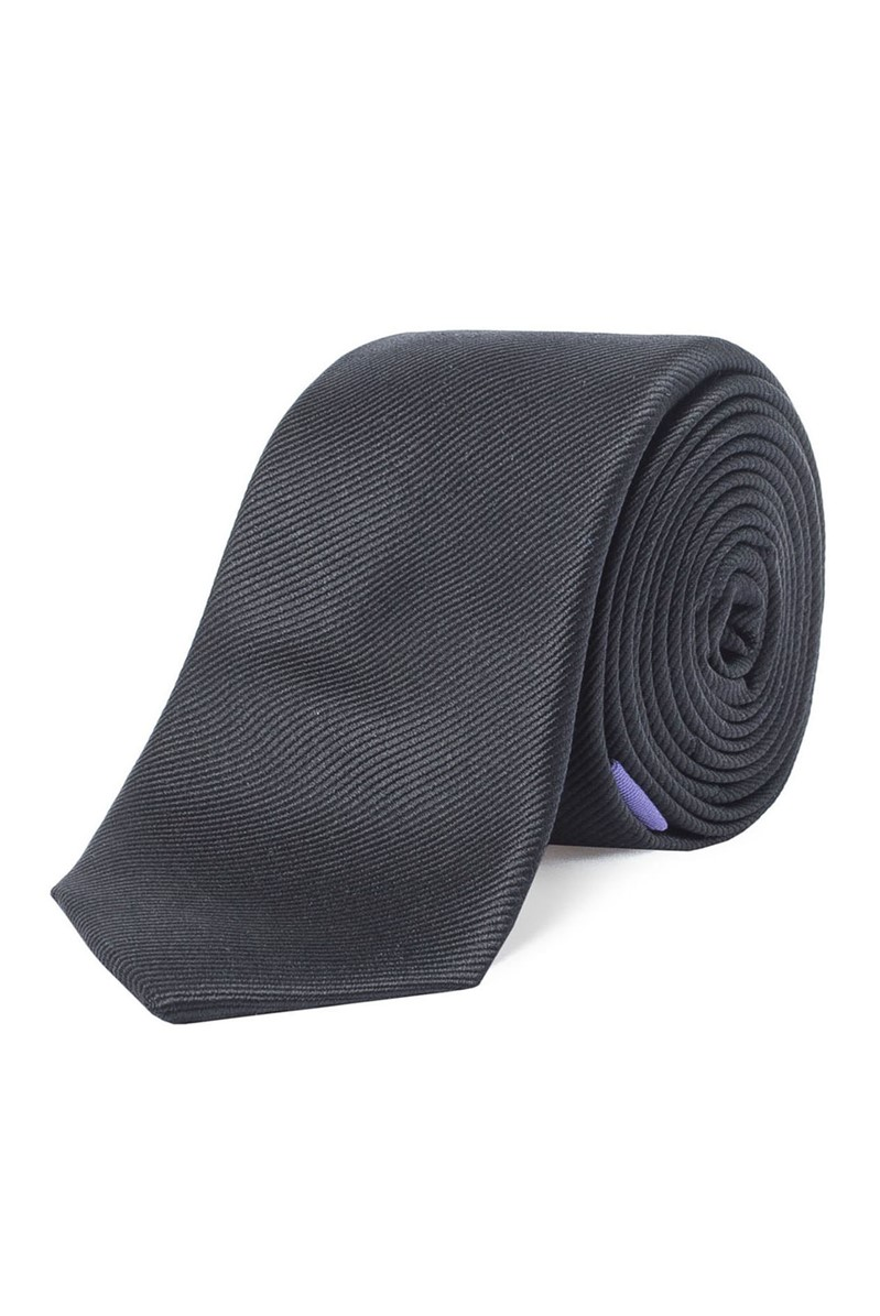 Stvdio Black Slim Plain Silk Tie