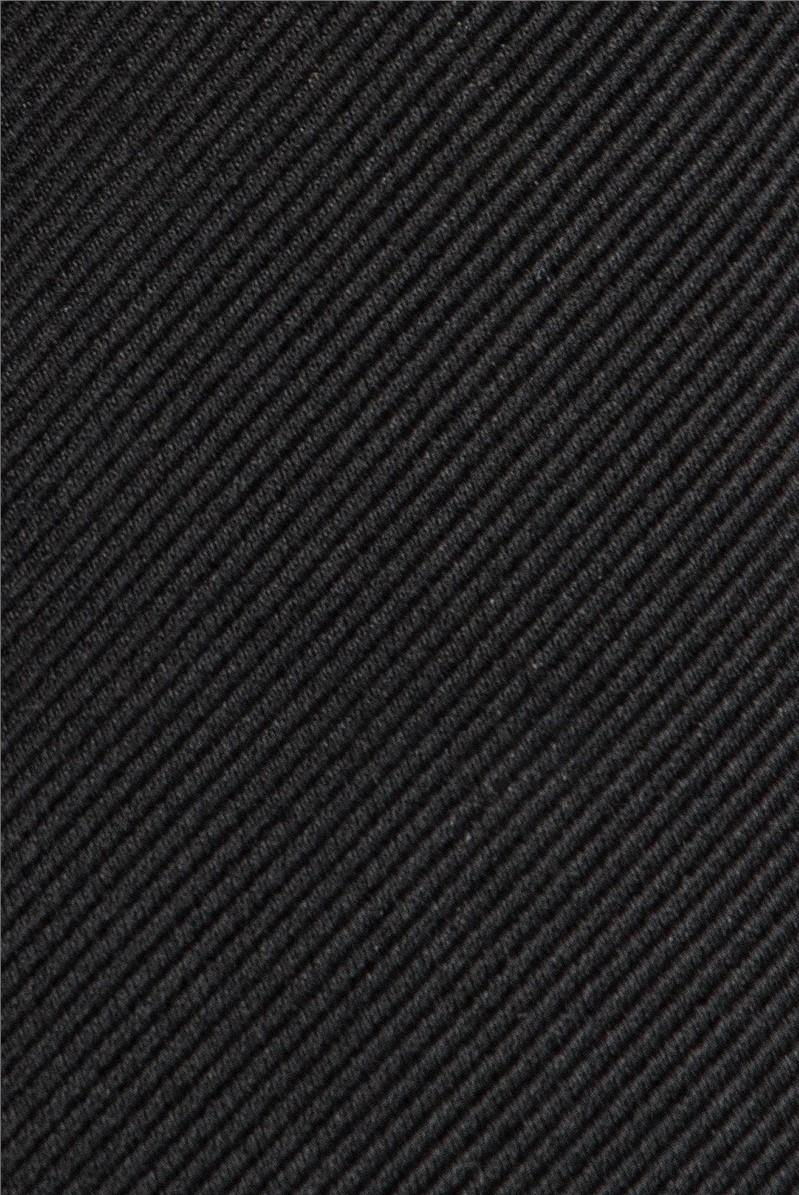 Stvdio by  Black Slim Plain Silk Tie