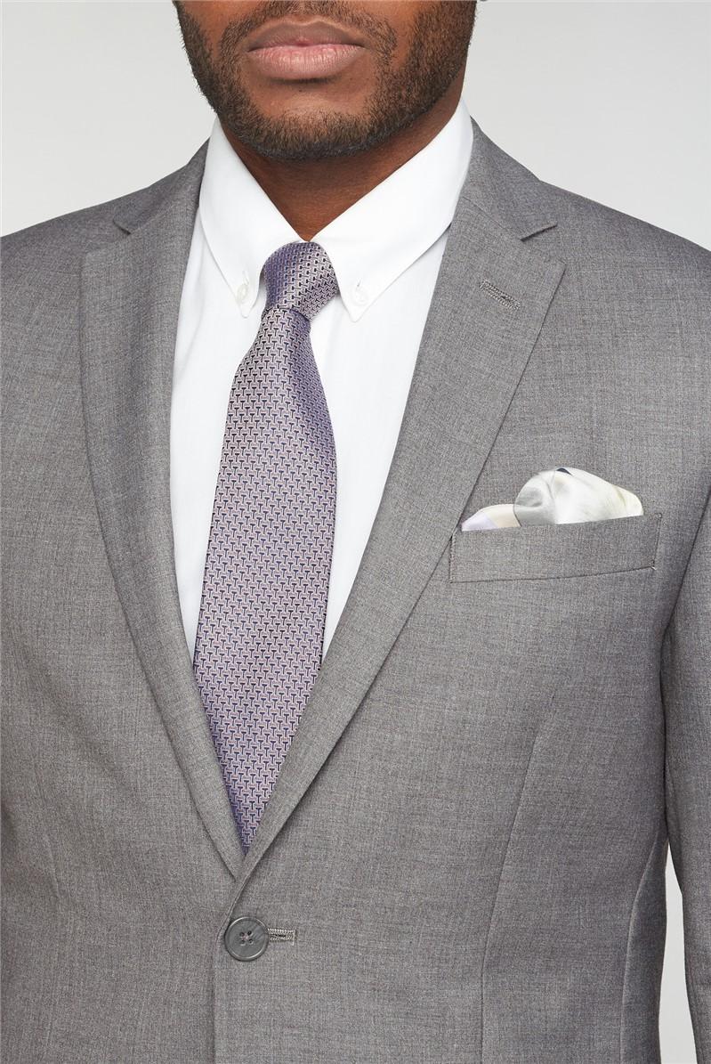 Grey Plain Weave Tailored Suit Jacket