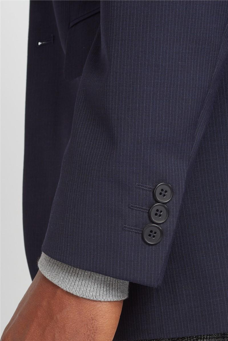 Navy Tonal Stripe Regular Fit Washable Suit Jacket