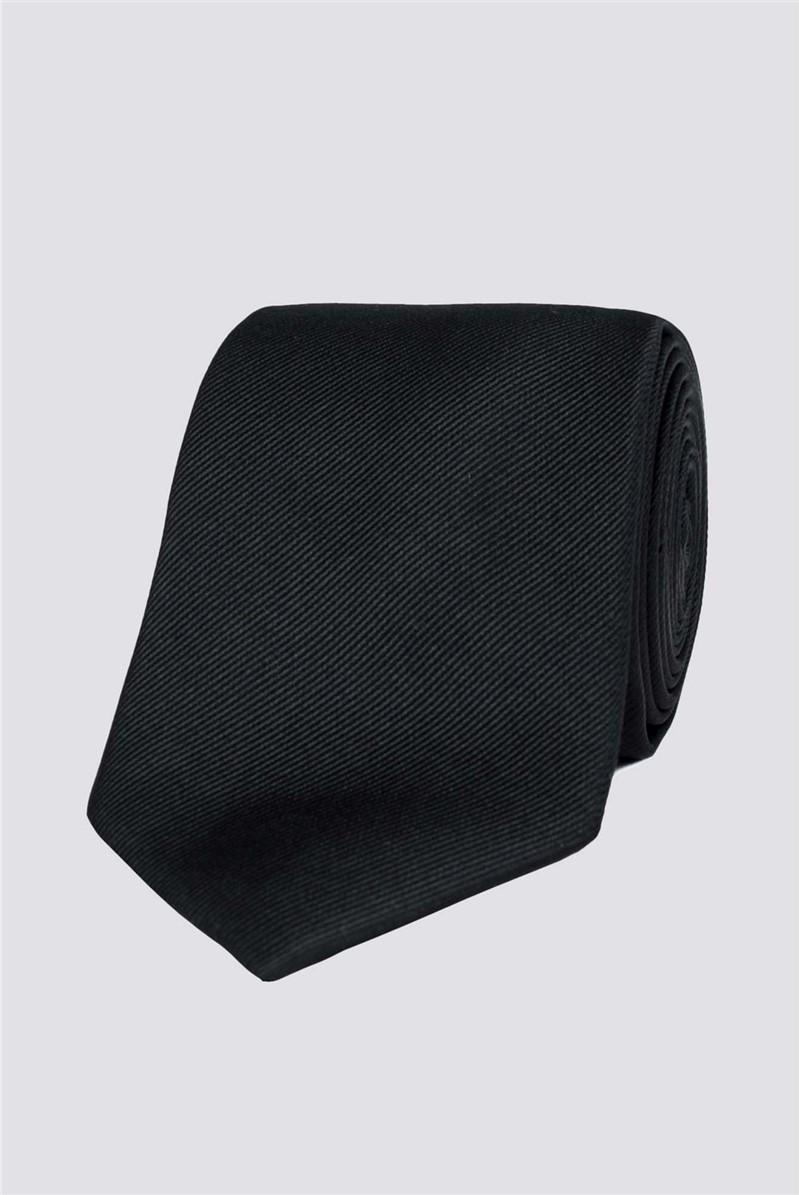 Stvdio Black Ribbed Silk Tie