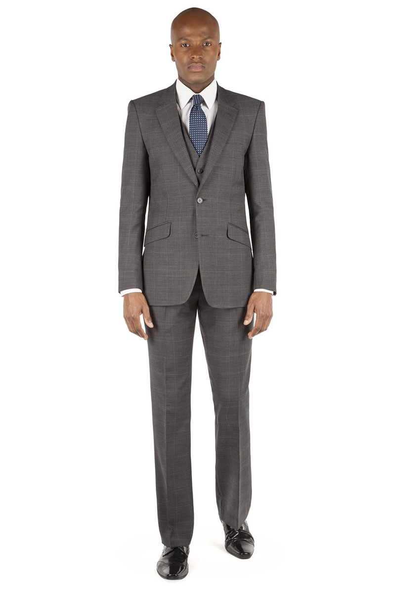 Grey Blue Prince of Wales Check Tailored Fit Suit