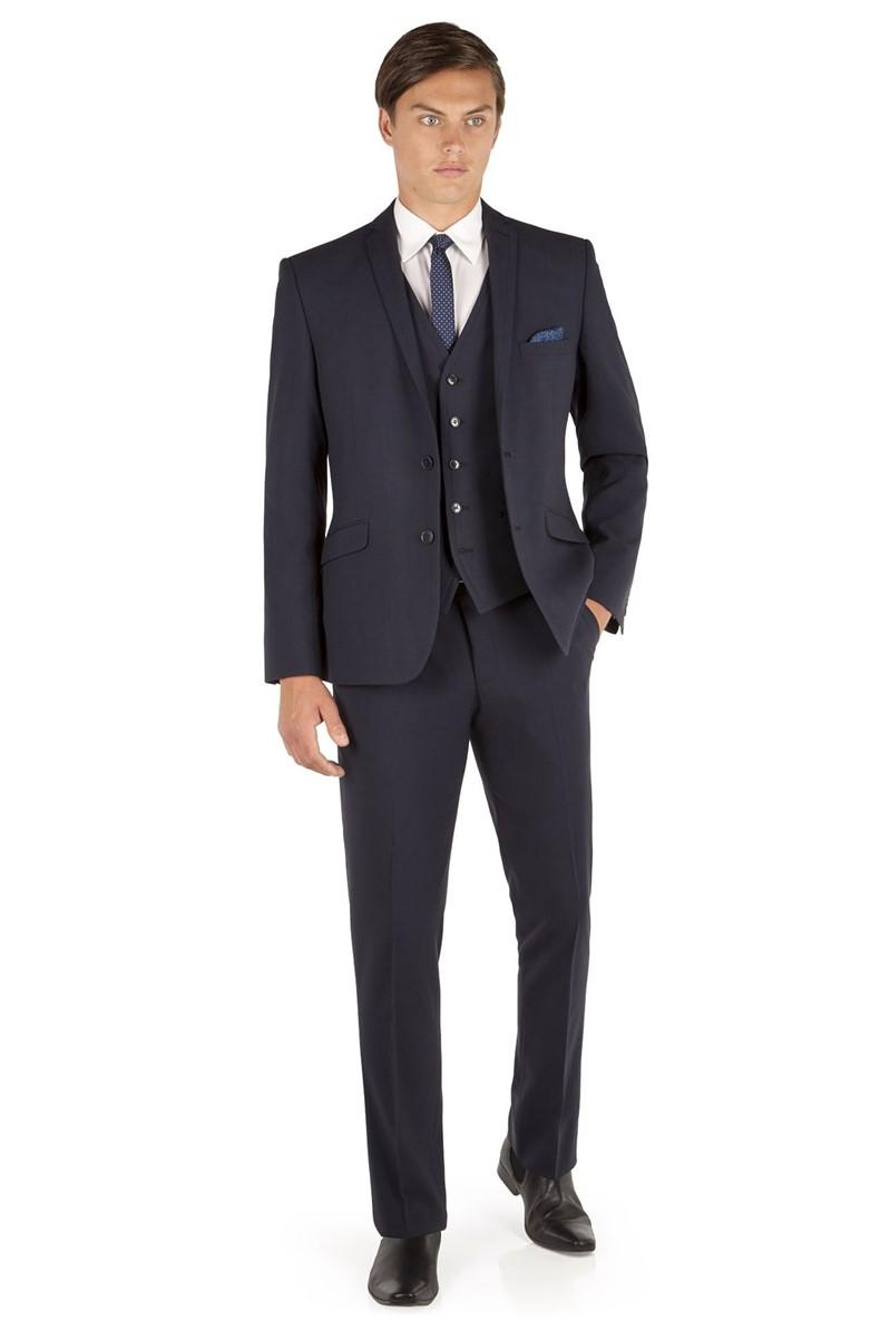 Navy Tonal Check Slim Fit Suit