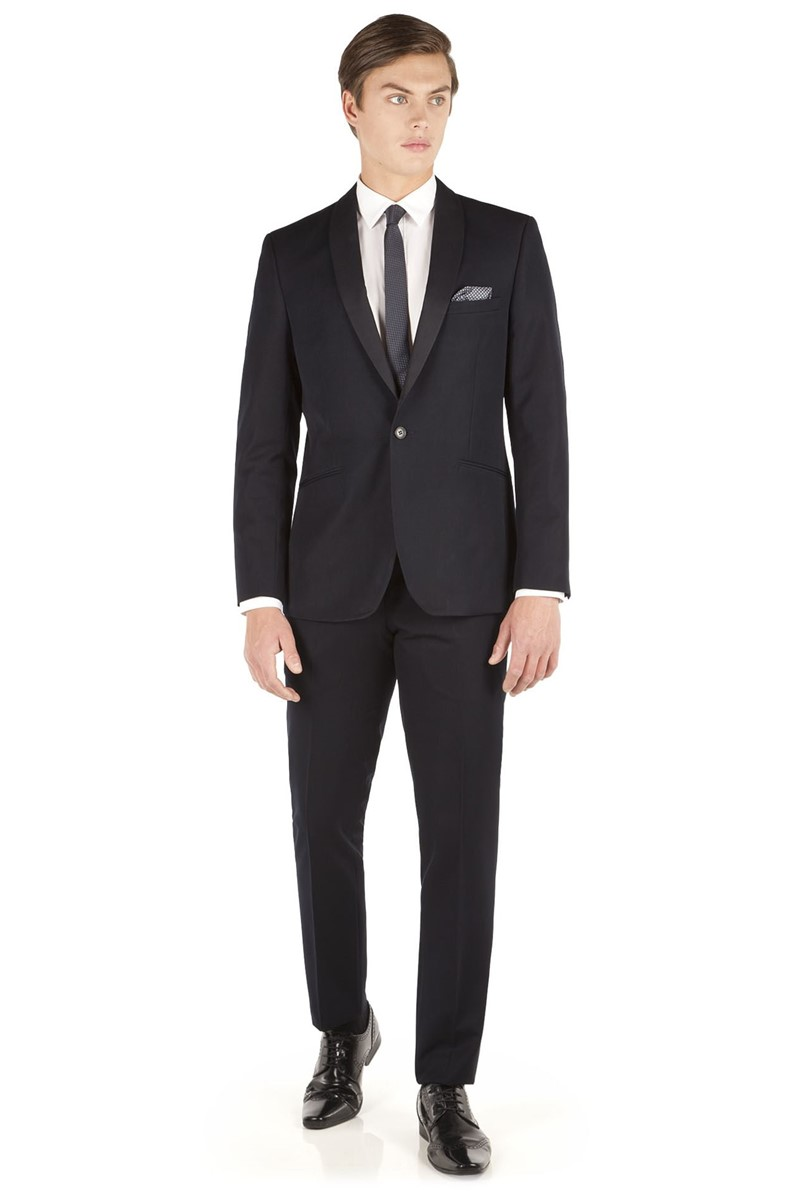 Navy Jaquard Shawl Collar Slim Fit Suit