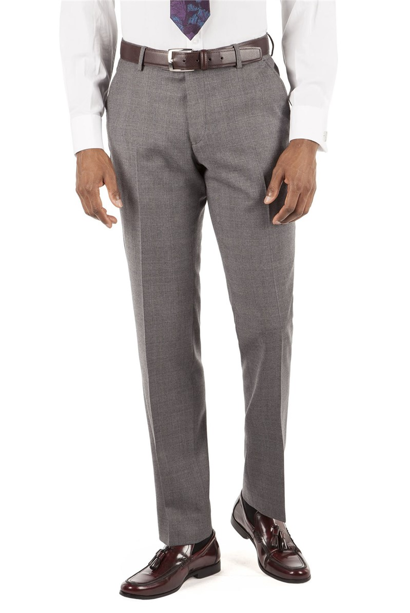 Warm Grey Check Tailored Fit Suit Trouser