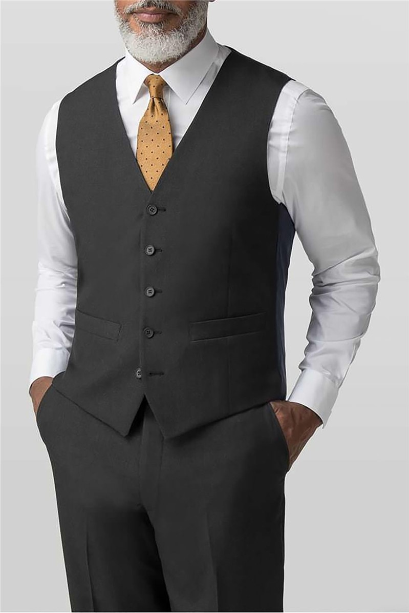 Plain Charcoal Panama Regular Fit Waistcoat