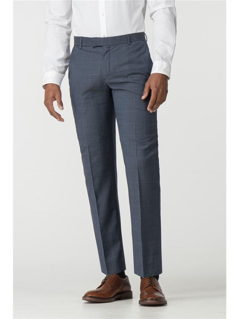 Slate Blue Tonal Blue Check Tailored Fit Suit Trouser