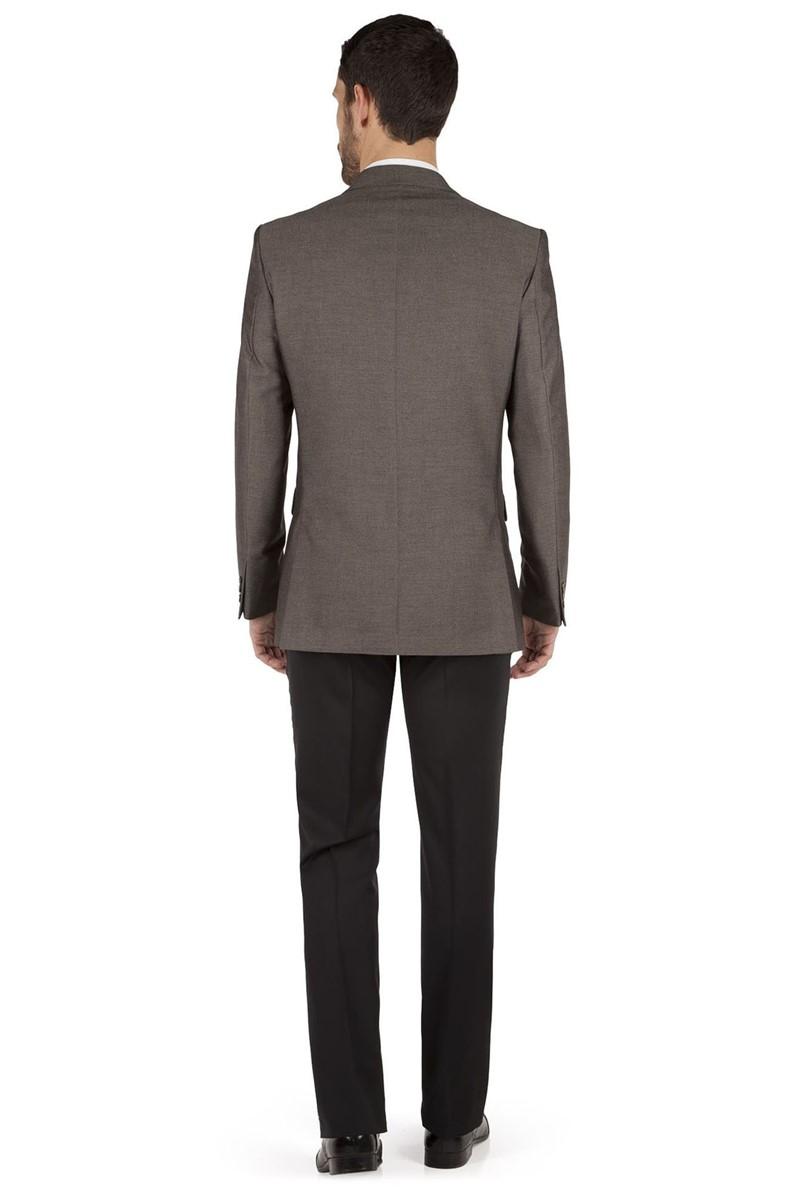 Taupe Semi Plain Regular Fit Jacket