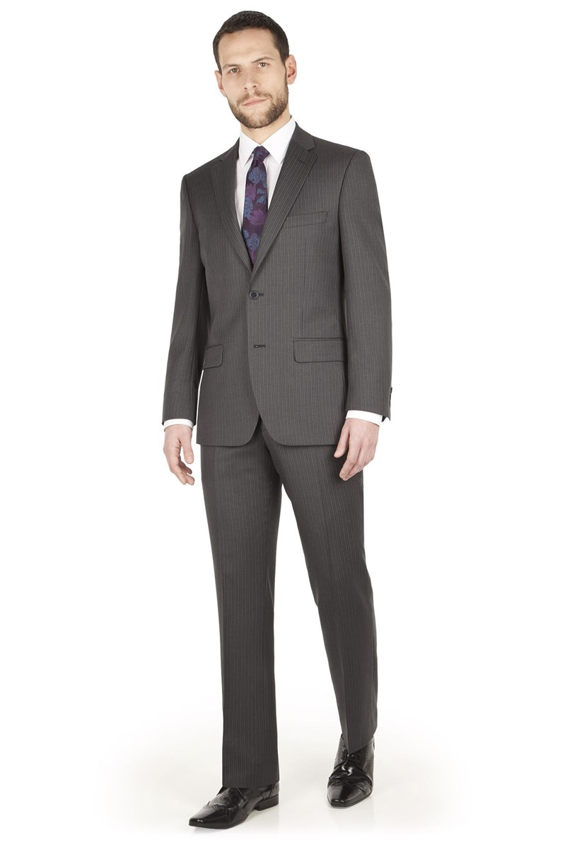 Grey Stripe Regular Fit Suit