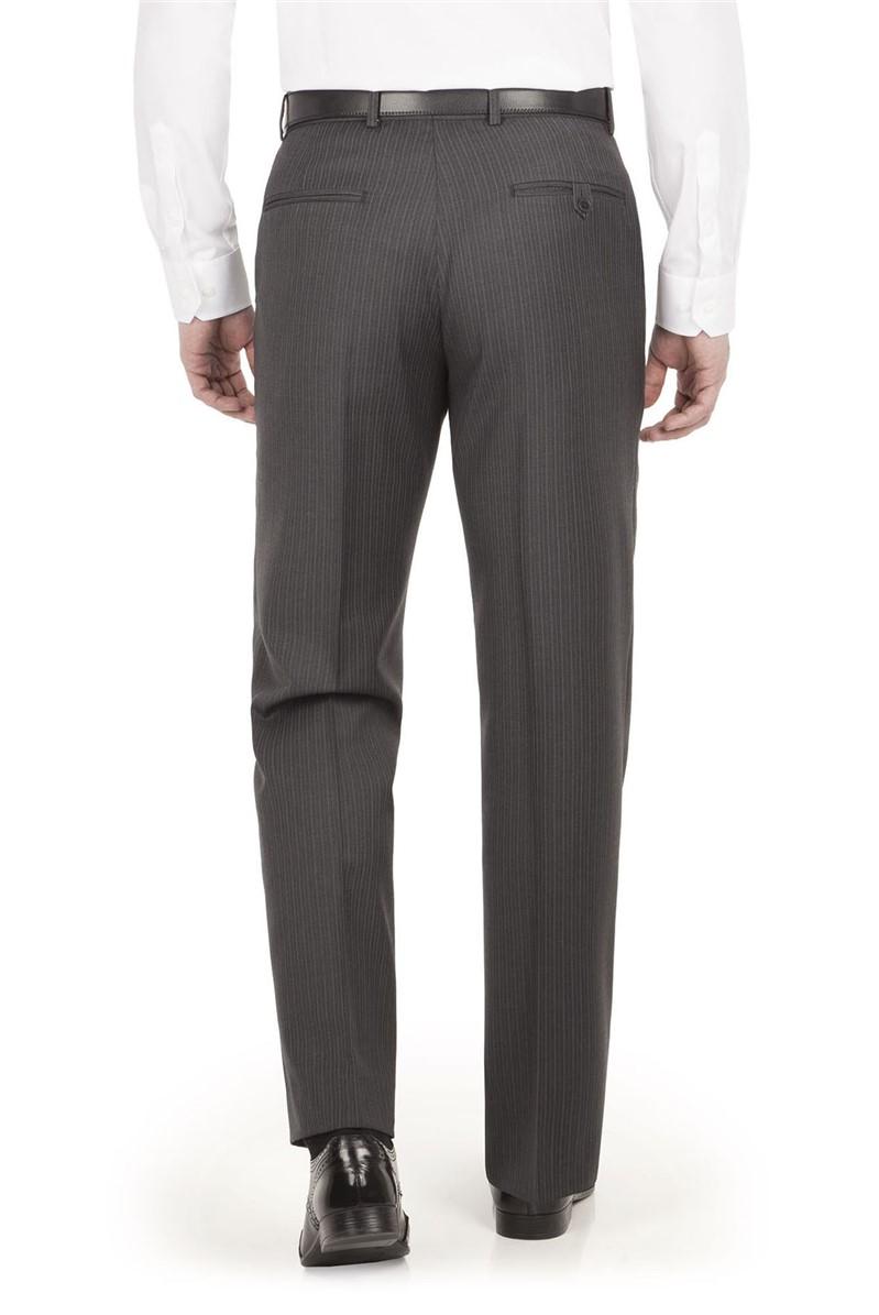 Grey Stripe Regular Fit Suit Trouser