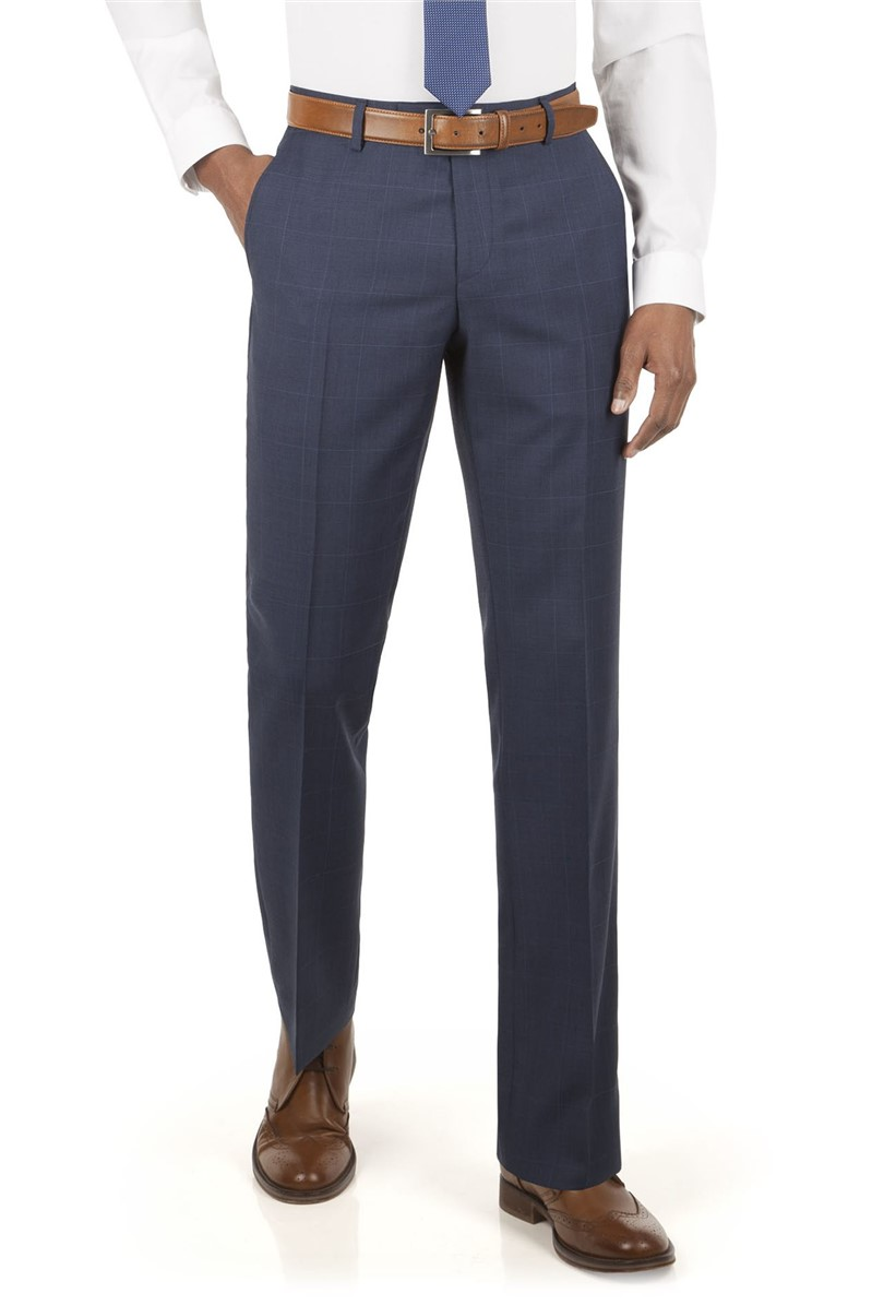 Blue Prince Of Wales Check Suit Trouser
