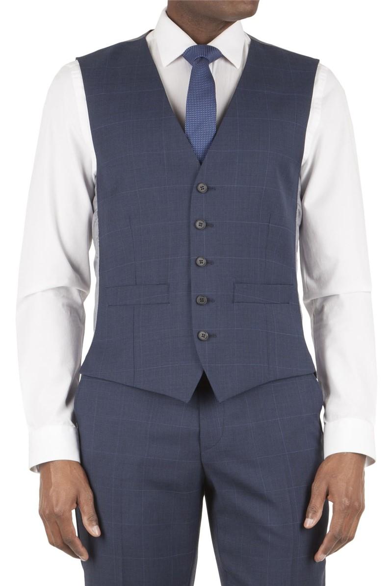 Blue Prince of Wales Check Waistcoat