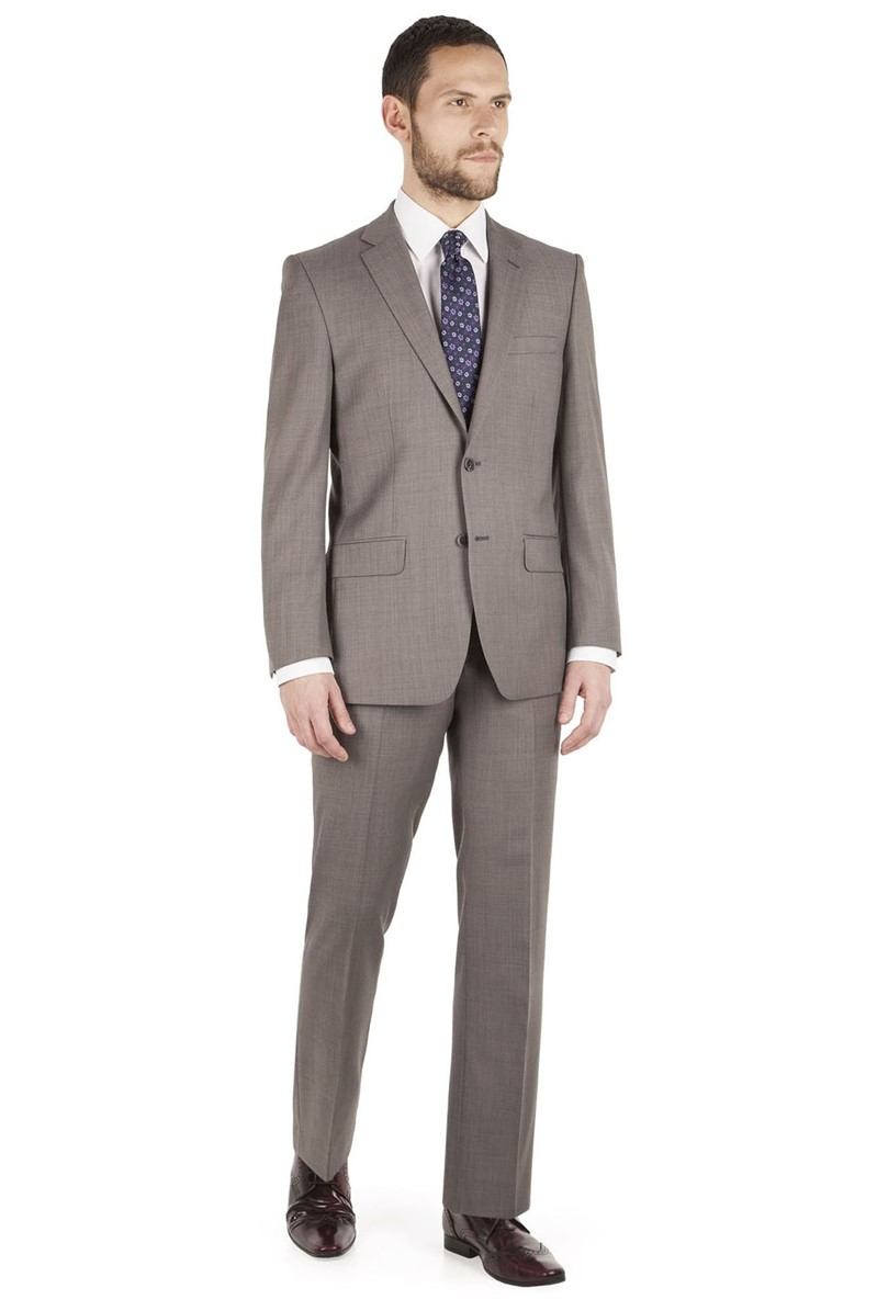Taupe Pick and Pick Regular Fit Suit