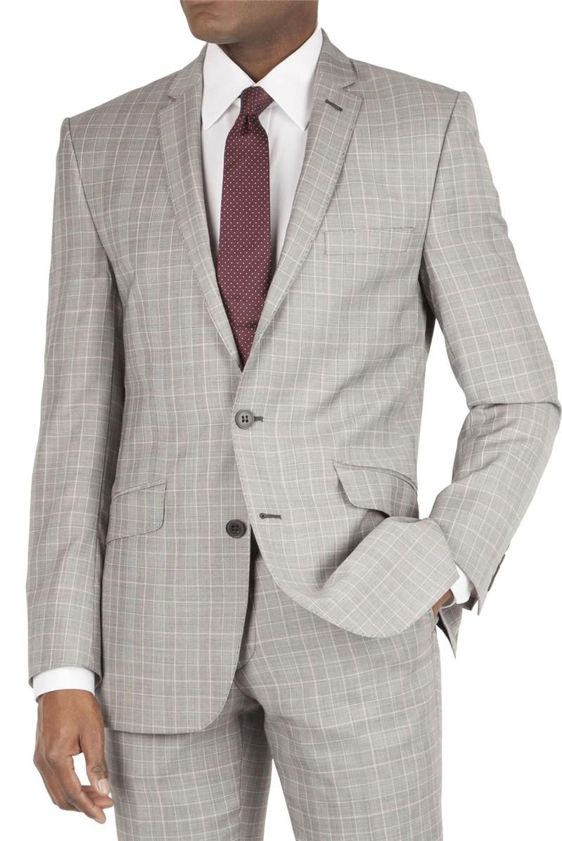 Grey Check Tailor Fit Suit Jacket