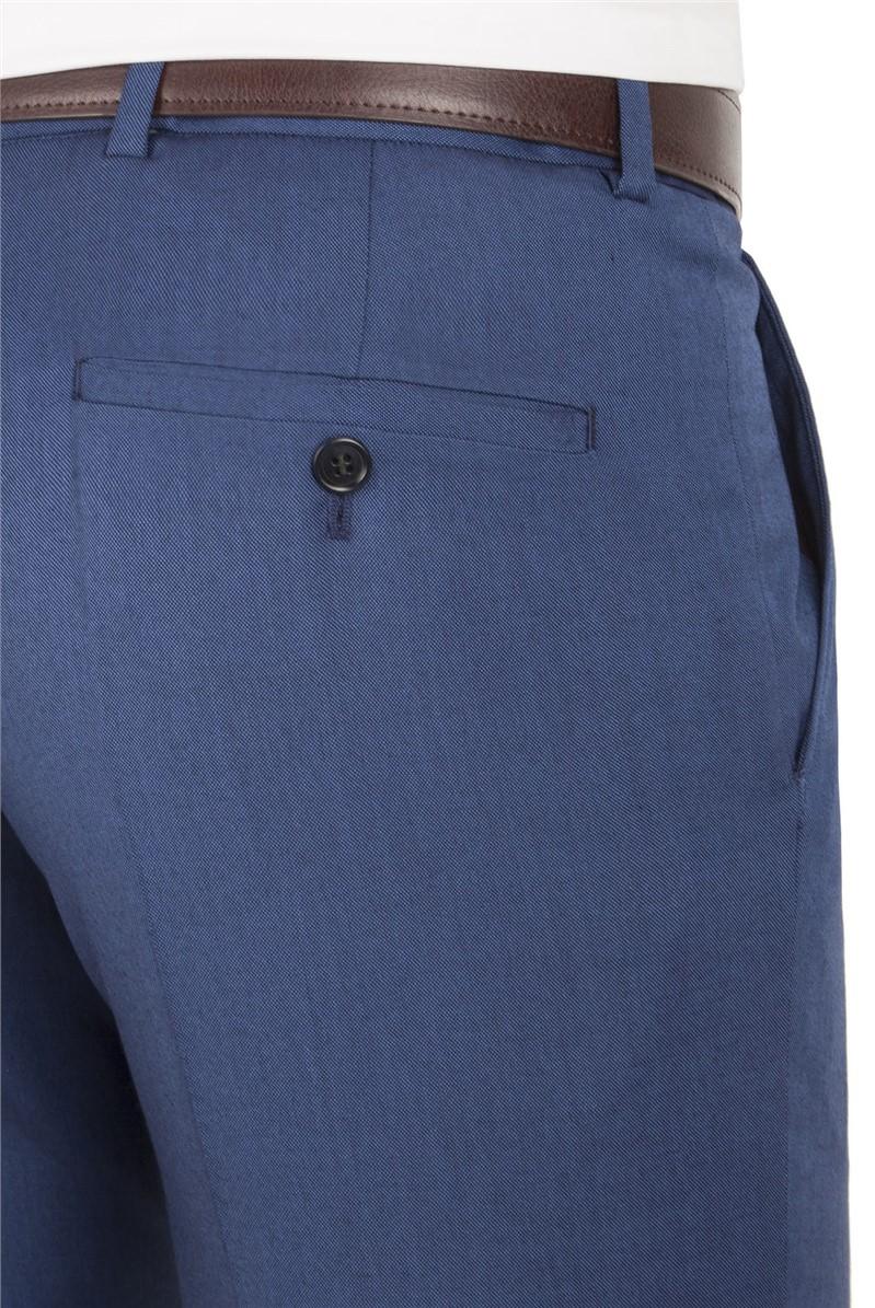 Bright Blue Pindot Slim Fit Suit Trouser