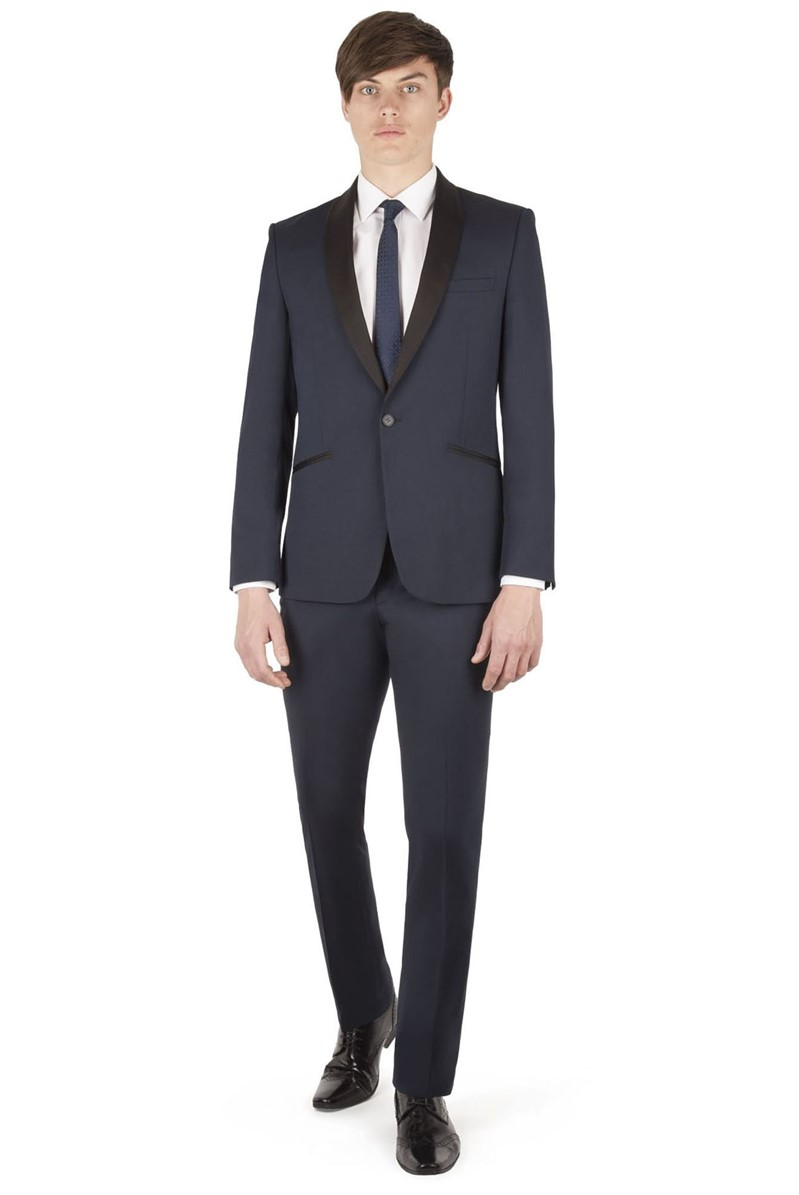 Navy Micro Shawl Slim Fit Suit
