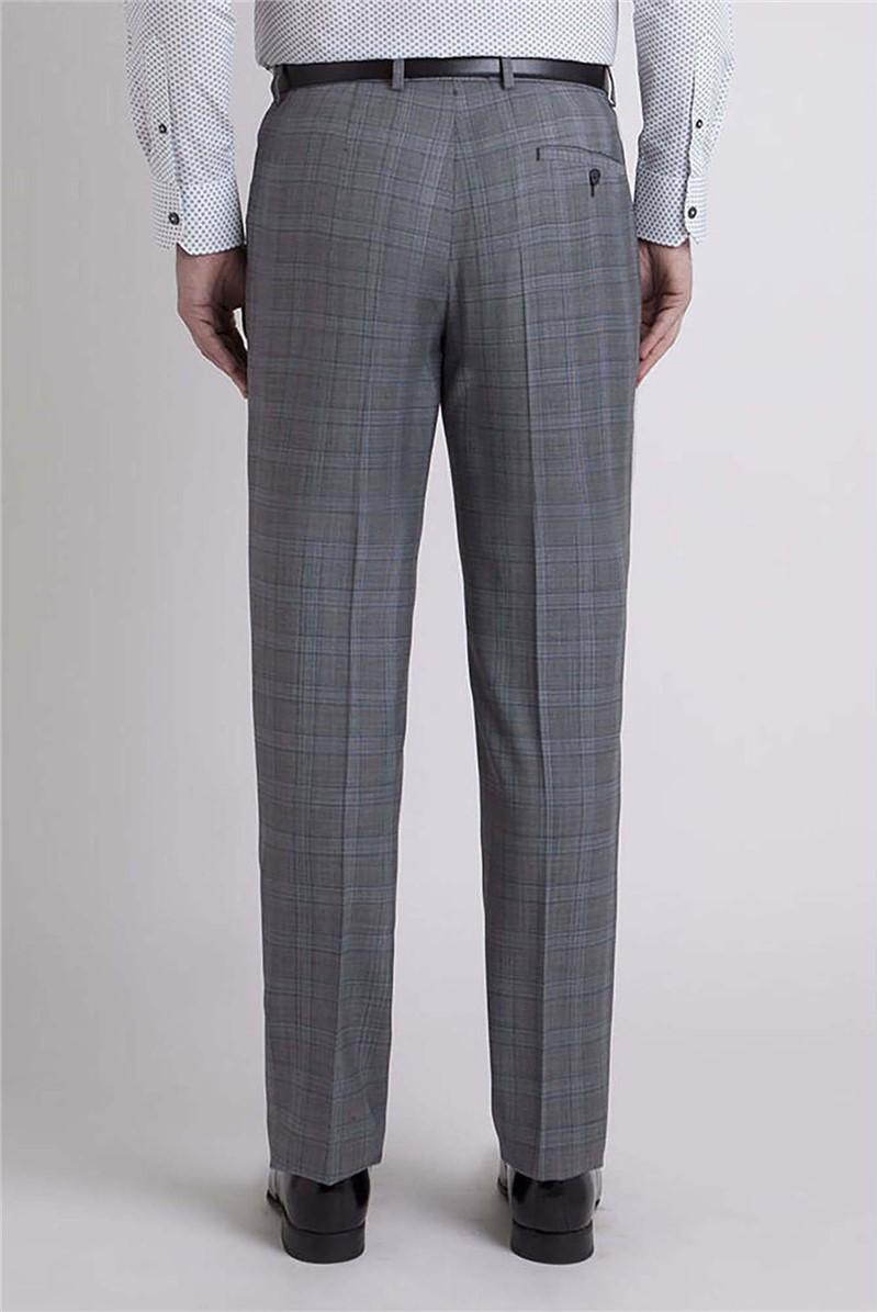 Studio Overcheck Grey & Blue Ivy League Suit Trouser